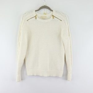 Michael Kors White Zippered Shoulder Knit Sweater